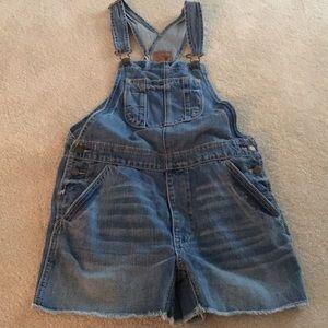 American eagle jean short bib overalls